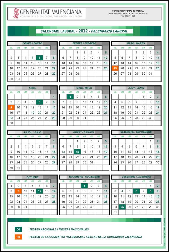 Calendario Laboral De Valencia.Calendario Laboral De La Comunitat Valenciana 2012 Cosas Practicas